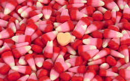 Valentine's Candy. Corn with a candy heart stock photography