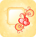 Valentine's card. Yellow frame with two heart Royalty Free Stock Photography