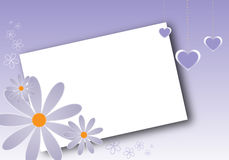 Valentine's card. A valentine's card with flowers,hanging hearts and a white frame. EPS file available Stock Photos