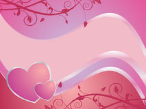 Valentine`s card. Illustration of hearts on a floral background Royalty Free Stock Photography