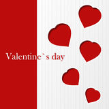 Valentine`s card. With red hearts Royalty Free Stock Photo