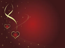 Valentine´s card. With two hearts and stars. Space for text Stock Photo
