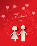 Valentine's card. Red Valentine's card with a paper clipping of a couple in love Stock Photography