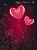 Valentine's card. With heart-balloons and butterflies Stock Photo