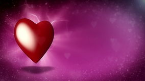 Valentine's card. Rotating heart at flying hearts background stock video footage
