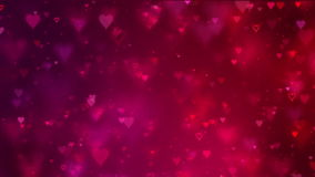 Valentine's card. Flying hearts background. Red color stock video