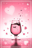 Valentine's card. With glass and hearts Stock Illustration
