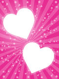 Valentine's card. Beautiful Valentine Frame of red hearts, vector Stock Images