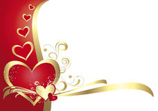 Valentine's card. Red and white card with hearts for Valentine's day Stock Photography