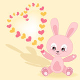 Valentine's card. Baby rabbit. Stock Photo