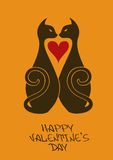 Valentine's card with beloved cats Royalty Free Stock Images