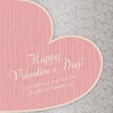 Valentine's card with big heart, grey Royalty Free Stock Photography