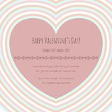 Valentine's card with big pink heart, striped Stock Photos