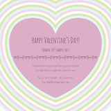 Valentine's card with big pink heart, striped Royalty Free Stock Photography