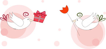 Valentine`s card with birds. Stock Images