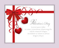 Valentine's Card with Bow. Cute Valentine's card with silk bow, streamers and hearts pendants royalty free illustration