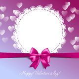 Valentine's card with a bow and hearts Royalty Free Stock Photos