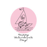 Valentine's card. A conceptual illustration/drawing made in childish style for Valentine's Day. Can be used as greeting card or etc Royalty Free Stock Photo