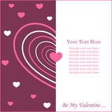 Valentine's card with copy space. Greeting card with concentric heart and copy space, vector illustration Stock Image