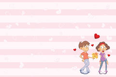Valentine`s card with a Cute Guy and Girl in Love. Illustration. The boy and the girl on a congratulatory card Stock Photos