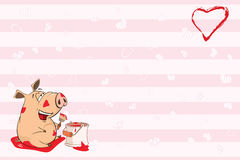 Valentine`s card for 14 February with a Cute Pig  illustration Stock Photography