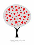 Tree with hearts greetings card - vector. Valentine s greetings card - tree with hearts like leaves.  Eps file available Royalty Free Stock Image