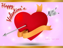 Valentine's Card, Heart with gold ribbon on sweet background Royalty Free Stock Image