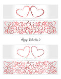Valentine's card - heart - set of vectors banners, cards, tickets Royalty Free Stock Photos