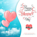 Valentine's card with heart-shaped ballons in sky Royalty Free Stock Photo