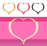 Valentine's Card and Icons with Hearts Stock Images
