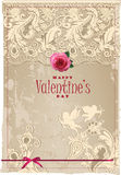 Valentine's card with lace Royalty Free Stock Images