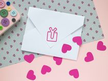 Valentine`s card  - love letter with decor. Valentine`s card  - love letter on table with hearts and other decor elements Stock Images