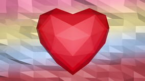 Valentine's card. Lowpoly hearts at lowpoly background with text stock video