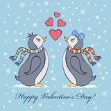 Valentines card with penguines Royalty Free Stock Photography