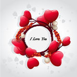 Valentine's card with red hearts and pearls-EPS10. Valentine's card with red hearts and pearls Royalty Free Stock Image