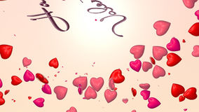 Valentine's card. Red and pink hearts floating with text stock footage