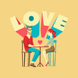Valentine's card. Romantic scene with a couple in love.  Stock Images