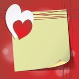 Valentine's card with sheet of paper and the heart Stock Image