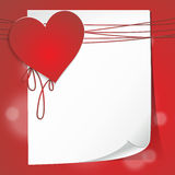 Valentine's card with sheet of paper Royalty Free Stock Image