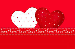 Valentine`s card with two hearts in dots Royalty Free Stock Images
