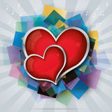 Valentine's card with two red glass hearts Royalty Free Stock Image