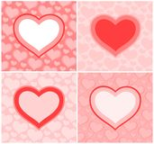 Valentine's cards. Pink Valentine's cards with hearts Royalty Free Stock Image