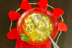 Valentine's Chicken soup Royalty Free Stock Photo