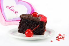 Valentine's chocolate fudge cake Stock Image