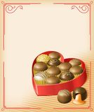 Valentine's Chocolates. Vector illustration of a heart-shaped Valentine's box of chocolates, in a vintage Victorian style. Multi-layered for editing. File is RGB Stock Photo