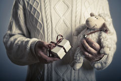 Valentine's or christmas/new year gift concept. Male hands giving small close - up gift box and soft toy Royalty Free Stock Photo