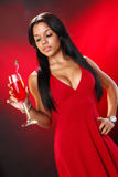 Valentine's cocktail girl Royalty Free Stock Photos