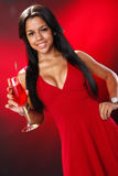 Valentine's cocktail girl Stock Photos