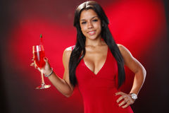 Valentine's cocktail girl Stock Images
