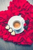 Valentine`s coffee and chocolates stock photos